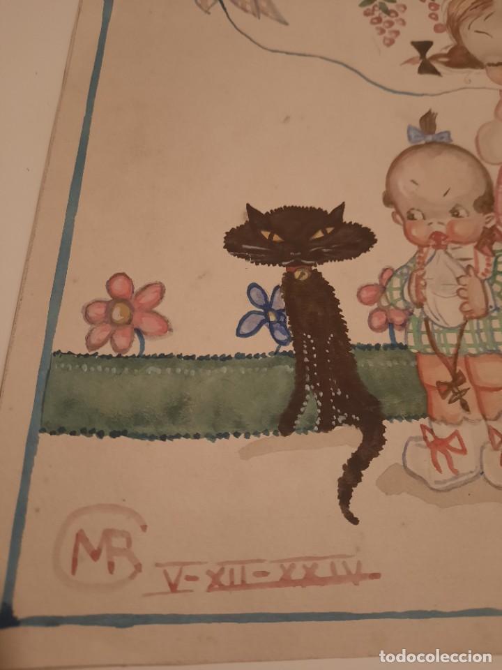 Arte: Lamina pintada .firmado MR.1924 - Foto 2 - 234770700