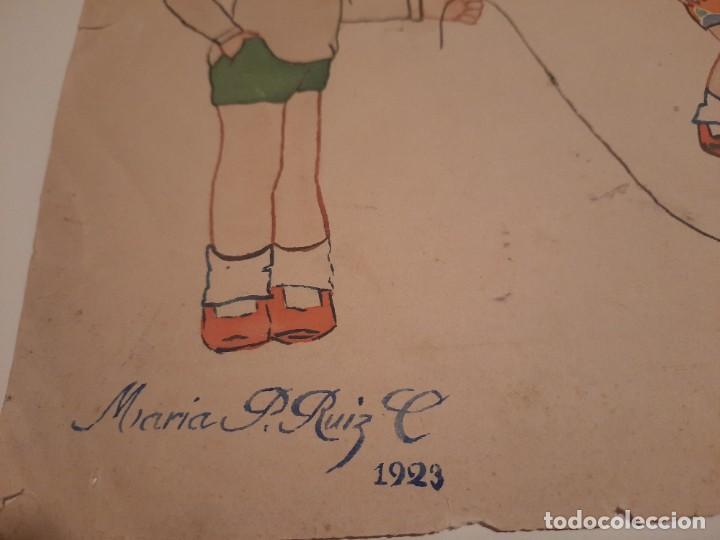 Arte: Lamina pintada .firmada.Maria P.Ruiz.1929 - Foto 2 - 234770955