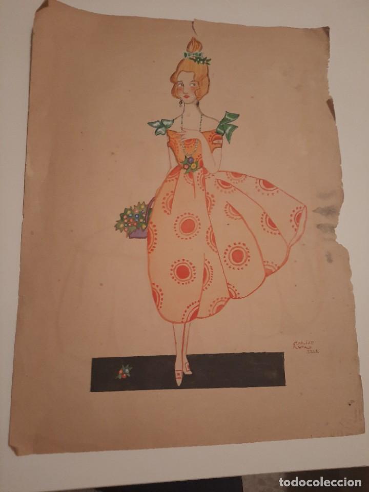 LAMINA PINTADA .FIRMADA.1921 (Arte - Dibujos - Antiguos hasta el siglo XVIII)