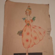 Arte: LAMINA PINTADA .FIRMADA.1921. Lote 234771165
