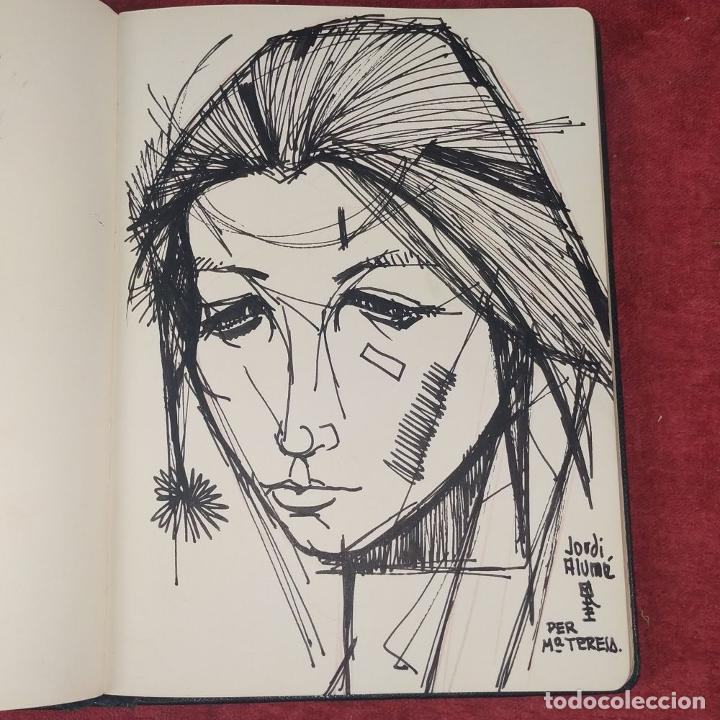 Arte: RETRATO -.DEDICATORIA. FIRMADO JORDI ALUMÁ. TINTA SOBRE PAPEL. ESPAÑA. CIRCA 1950 - Foto 2 - 234903480