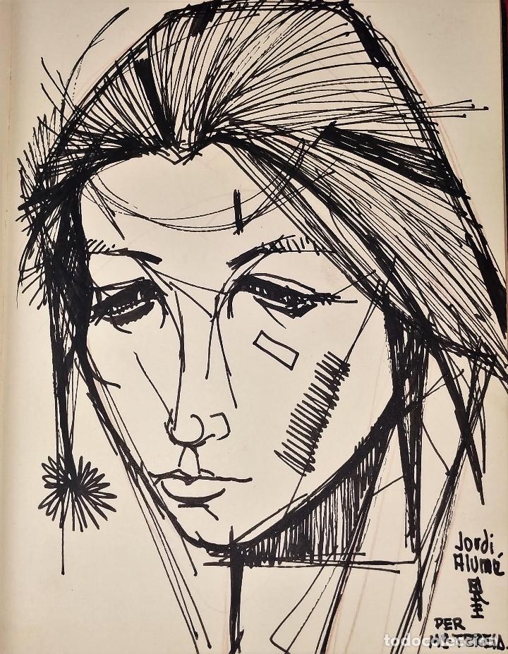 RETRATO -.DEDICATORIA. FIRMADO JORDI ALUMÁ. TINTA SOBRE PAPEL. ESPAÑA. CIRCA 1950 (Arte - Dibujos - Contemporáneos siglo XX)