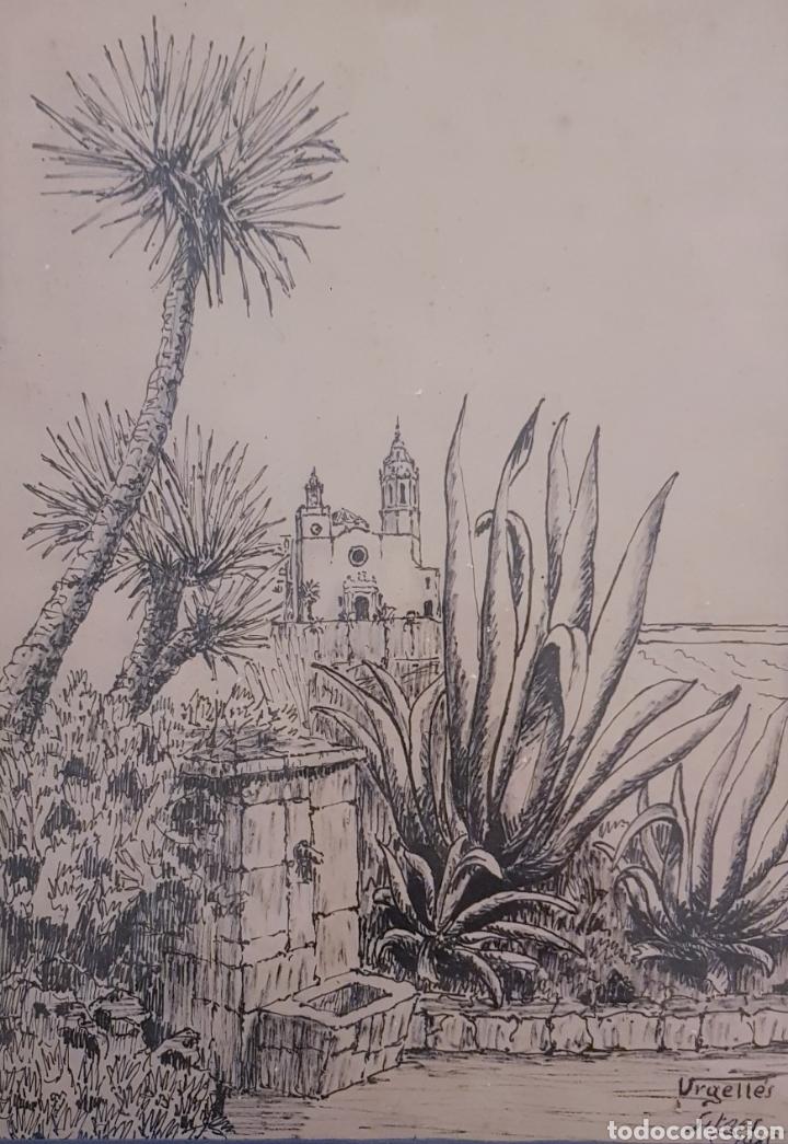 DIBUJO DE SITGES , FIRMADO URGELLES (Arte - Dibujos - Contemporáneos siglo XX)