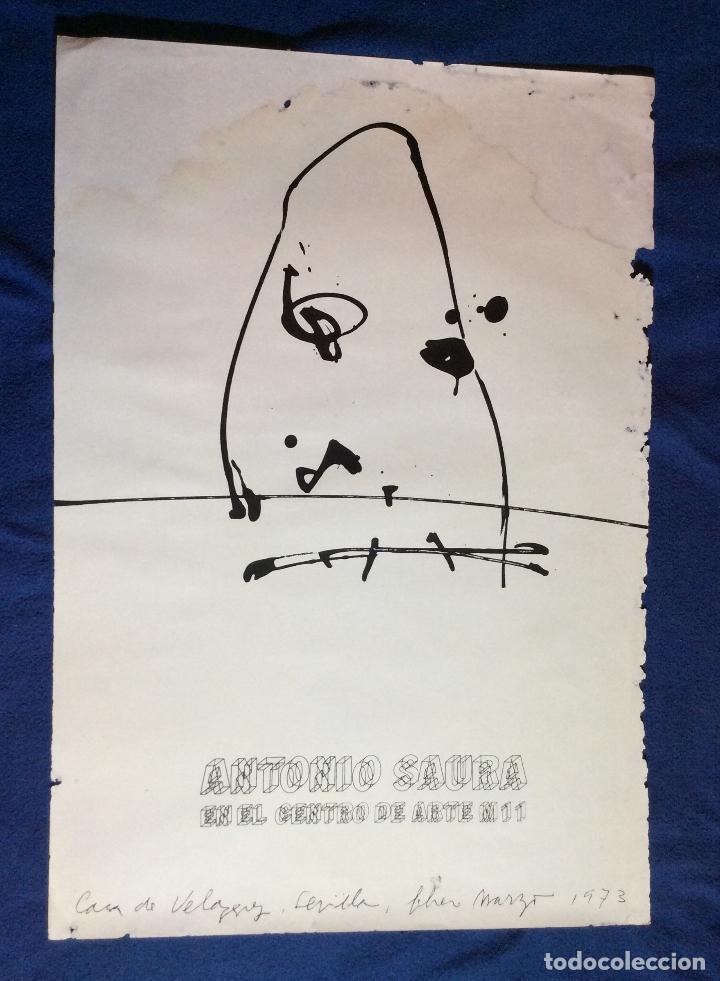 Arte: ANTONIO SAURA ,OBRA ORIGINAL CARTEL EXPOSICIÓN CENTRO DE ARTE M 11 ,AÑO 1973 -Medidas 72x50 cm - Foto 3 - 234938465