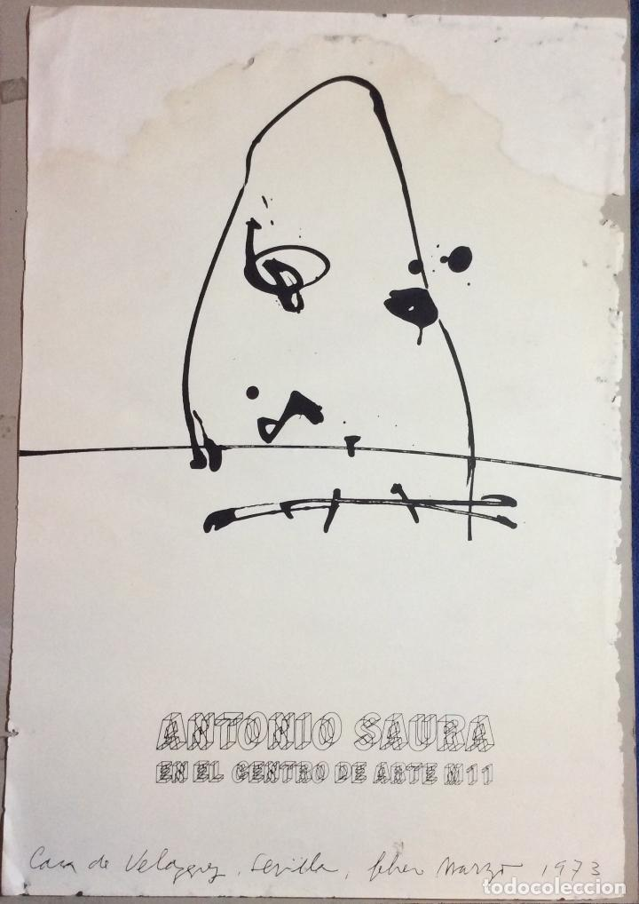 ANTONIO SAURA ,OBRA ORIGINAL CARTEL EXPOSICIÓN CENTRO DE ARTE M 11 ,AÑO 1973 -MEDIDAS 72X50 CM (Arte - Dibujos - Modernos siglo XIX)