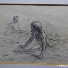 Arte: DIBUJO DE SEBASTIÀ BADIA I CERDA(CALDES DE MONTBUI 1916-2009).NIÑOS BAÑÁNDOSE.. Lote 234993170