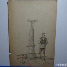 Arte: DIBUJO ILEG8BLE AÑO 1878.CAMINO DEL BUEYO, BARBASTRO. BUEN TRAZO.. Lote 235356655