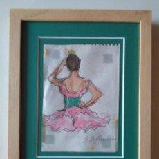 Arte: RAMÓN RIBAS RIUS: BAILARINA. DIBUJO Y ACUARELA SOBRE PAPEL. Lote 235412240