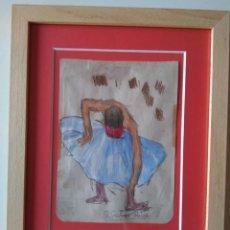 Arte: RAMÓN RIBAS RIUS: BAILARINA. DIBUJO Y ACUARELA SOBRE PAPEL. Lote 235412345