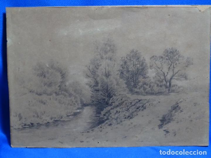 ANTIGUO DIBUJO DEL SIGLO XIX CON FIRMA ILEGIBLE. BUEN TRAZO. (Arte - Dibujos - Modernos siglo XIX)
