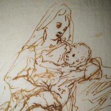 Arte: DIBUJO ITALIANO MUJER O VIRGEN ON TOCA PORTANDO UN NIÑO S.XVIII. Lote 235723370