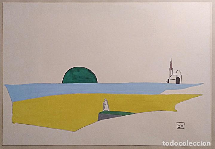Arte: Magnífico Dibujo original de Víctor Carande, enmarcado con cristal protector. Firmado - Foto 2 - 236089865