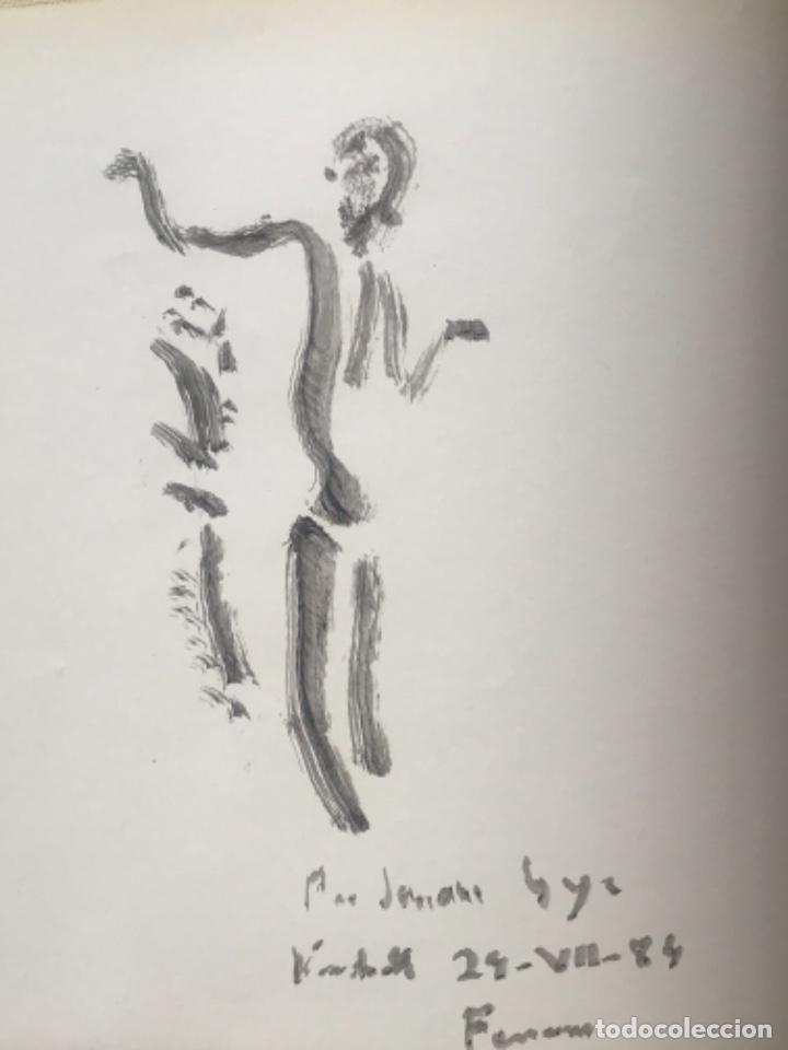 DIBUJO A TINTA DE APEL.LES FENOSA SOBRE LIBRO LA POLIGRAFA SU VIDA, SU ARTE. VENDRELL 24-7-84. (Arte - Dibujos - Contemporáneos siglo XX)