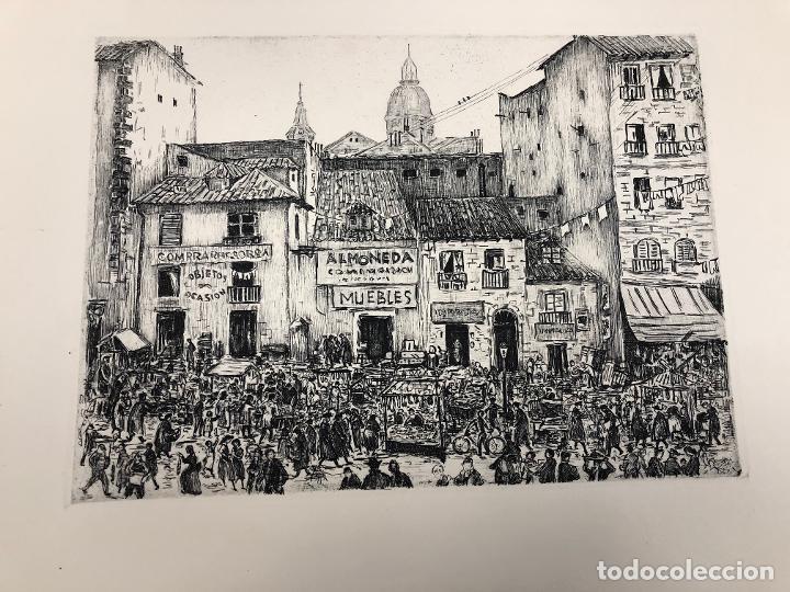 FANTASTICO DIBUJO TINTA CHINA RASTRO MADRILEÑO. C 1950. CON HUELLA DE GRABADO (Arte - Dibujos - Contemporáneos siglo XX)