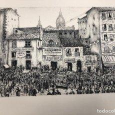 Arte: FANTASTICO DIBUJO TINTA CHINA RASTRO MADRILEÑO. C 1950. CON HUELLA DE GRABADO. Lote 236119535