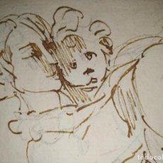 Arte: DIBUJO MUJER ABRAZANDO A UN NIÑO S.XVIII. Lote 236184305