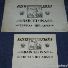 Arte: BARCELONA - PASTELERIA ESTEVE RIERA - 2 DIBUJOS ORIGINALES A PLUMA. Lote 236341630