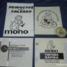 Arte: (M) 4 DIBUJOS ORIGINALES PARA PUBLICIDAD MONO CREMA SUPERIOR PARA EL CALZADO + ETIQUETA IMPRESA. Lote 236347155