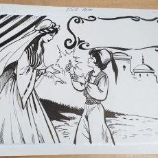 Arte: DIBUJO A TINTA CHINA CUENTO ALADINO ILUSTRA JULI 19X14 CM.. Lote 236594610