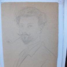 Arte: DIBUJO RETRATO DE UN HOMBRE FUMANDO CON PIPA. Lote 236916125