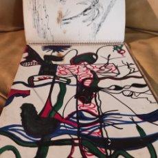 Arte: CUADERNO DE DIBUJO, AÑOS 70. ARTISTA A IDENTIFICAR. HIPPIES, ROCK, CARICATURA, ANIMALES, SURREALISMO. Lote 236967860