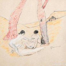 Arte: PERE GUSSINYE GIRONELLA (OLOT, 1890 - 1980) TECNICA MIXTA SOBRE CARTULINA. PERSONAJES. Lote 237031945