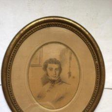 Arte: ANTIGUO DIBUJO CARBONCILLO ,RETRATO CABALLERO FIRMADO 1853 . CUADRO EPOCA ISABELINA. Lote 237380590