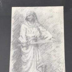 Arte: DIBUJO A LÁPIZ ENMARCADO, ORIENTALISTA CÍRCULO DE FORTUNY. FIRMADO 1899.. Lote 237448095