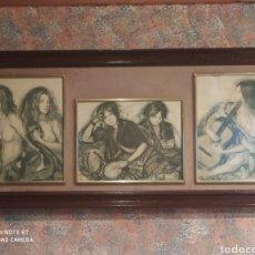 Arte: TRIPTICO DE SHELDON C. SCHONEBERG CON 3 DIBUJOS A CARBONCILLO. Lote 237657895