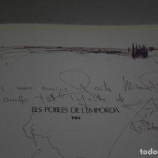 Arte: LLUÍS ROURA , DIBUJO ORIGINAL EN EL LIBRO, ELS POBLES DE L'EMPORDÀ, FIRMADO, DEDICADO Y FECHADO.. Lote 238099300