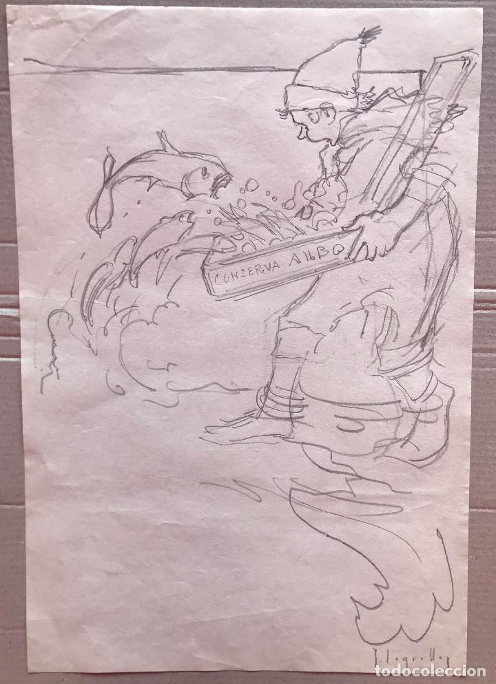 JOSÉ SEGRELLES - DIBUJO A LAPIZ - APUNTES DEL ARTISTA - S.XIX PUBLICIDAD CONSERVAS ALBO. AÑOS 20 (Arte - Dibujos - Modernos siglo XIX)
