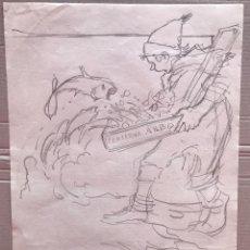 Arte: JOSÉ SEGRELLES - DIBUJO A LAPIZ - APUNTES DEL ARTISTA - S.XIX PUBLICIDAD CONSERVAS ALBO. AÑOS 20. Lote 238232430