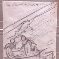 Arte: JOSÉ SEGRELLES. DIBUJO A LAPIZ. SIGLO XIX. PUBLICIDAD LA HISPANO SUIZA AUTOMOVILISMO AERONAUTICA. Lote 238235485