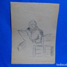 Arte: DIBUJO DE JOSEP MARÍA GARRUT I ROMA.GUERRA CIVIL.FRENTE DE BUJARALOZ.EL RUBIO.1936.. Lote 238698895
