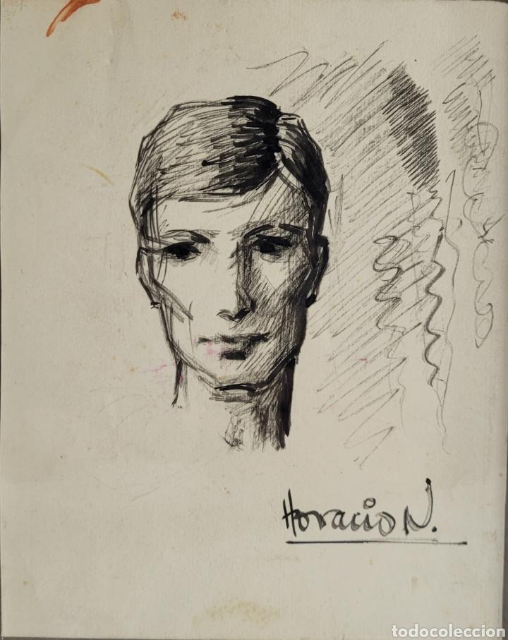 RETRATO POR HORACIO NOGUERA (ISLA CRISTINA, HUELVA 1944-2005) (Arte - Dibujos - Contemporáneos siglo XX)