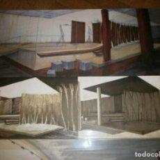 Arte: 3 DIBUJOS COLOR PROYECTO UEN UNIVERSIDAD EUROPEA DE MADRID PAPEL 59 X 42 CM. ANONIMO. Lote 240004670