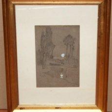 Arte: MODESTO URGELL INGLADA (1839 - 1919) DIBUJO A CARBÓN Y CLARIÓN. PAISAJE. Lote 241402615