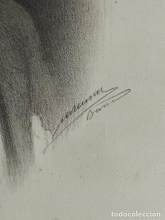 Arte: Dibujo al Carbón - Retrato - Escuela Catalana - con Firma - Foto 3 - 241670415