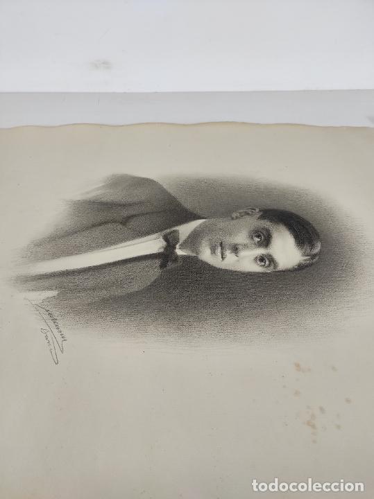 Arte: Dibujo al Carbón - Retrato - Escuela Catalana - con Firma - Foto 6 - 241670415