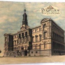 Arte: DIBUJO ORIGINAL PERSPECTIVA EXCMO. AYUNTAMIENTO DE BILBAO. 13 DE ENERO DE 1926. Lote 241886055