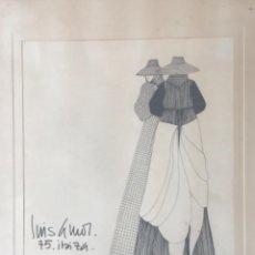 Arte: DIBUJO A TINTA DE LUIS AMOR 1975 IBIZA.. Lote 242329110