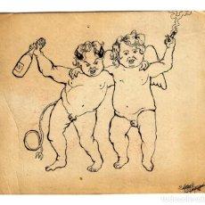 Arte: ANGEL Y DEMONIO, POR FIN AMIGOS - DIBUJO A TINTA 119X110 MM. - 1976 - NO ENTIENDO LA FIRMA.. Lote 242902770