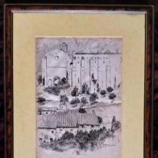Arte: DIBUJO A TINTA (PLUMILLA) / * RUINAS DE SANTO DOMINGO * ESTELLA (NAVARRA). FIRMADO; E. TOMÁS. S. XX. Lote 242977735