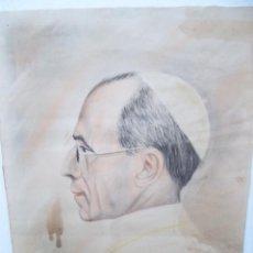 Arte: EXCELENTE DIBUJO AL PASTEL DEL SANTO PADRE ( CREO QUE ES PIO XII ). Lote 243169465