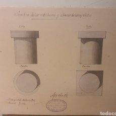 Arte: ANTIGUA LAMINA,SOMBRAS DE LAS MOLDURAS Y ABACOS DE LOS CAPITETES,AÑO 1902 ,PINTADA A MANO. Lote 243665990