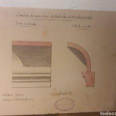 Arte: ANTIGUA LAMINA,SOMBRA DE UN CAÑON DE BOVEDA DE MEDIOPUNTO,AÑO 1902,PINTADA A MANO. Lote 243668205