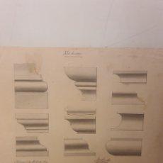 Arte: LOTE DE 2 LAMINAS ANTIGUAS,PROYECTO DE MOLDURAS AÑO 1902,PINTADAS A MANO. Lote 243669995