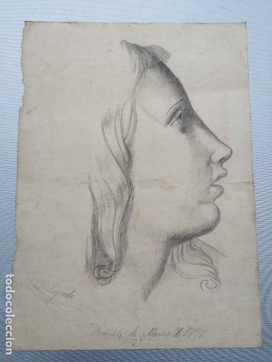 DIBUJO ORIGINAL FIRMADO SALVADOR SAGREDO SIGLO XIX (Arte - Dibujos - Modernos siglo XIX)