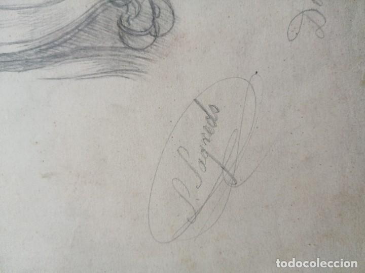 Arte: Dibujo original firmado Salvador Sagredo siglo xix - Foto 2 - 244019065