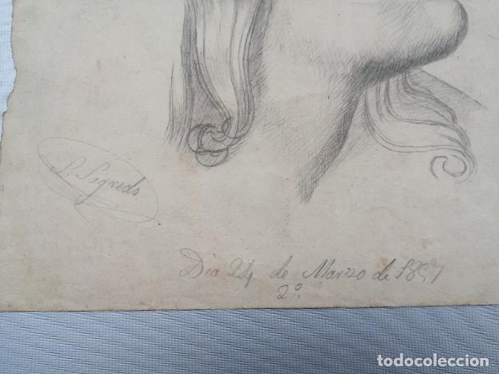 Arte: Dibujo original firmado Salvador Sagredo siglo xix - Foto 3 - 244019065